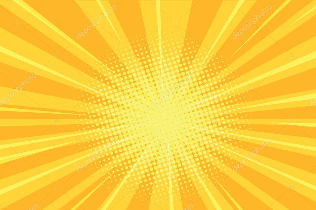 yellow rays comics retro background � stock vector