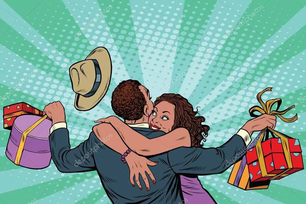 African American couple happiness from gifts and shopping