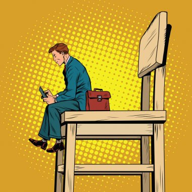 Small business man on the big chair, and smartphone