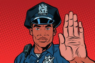 Retro police officer stop gesture