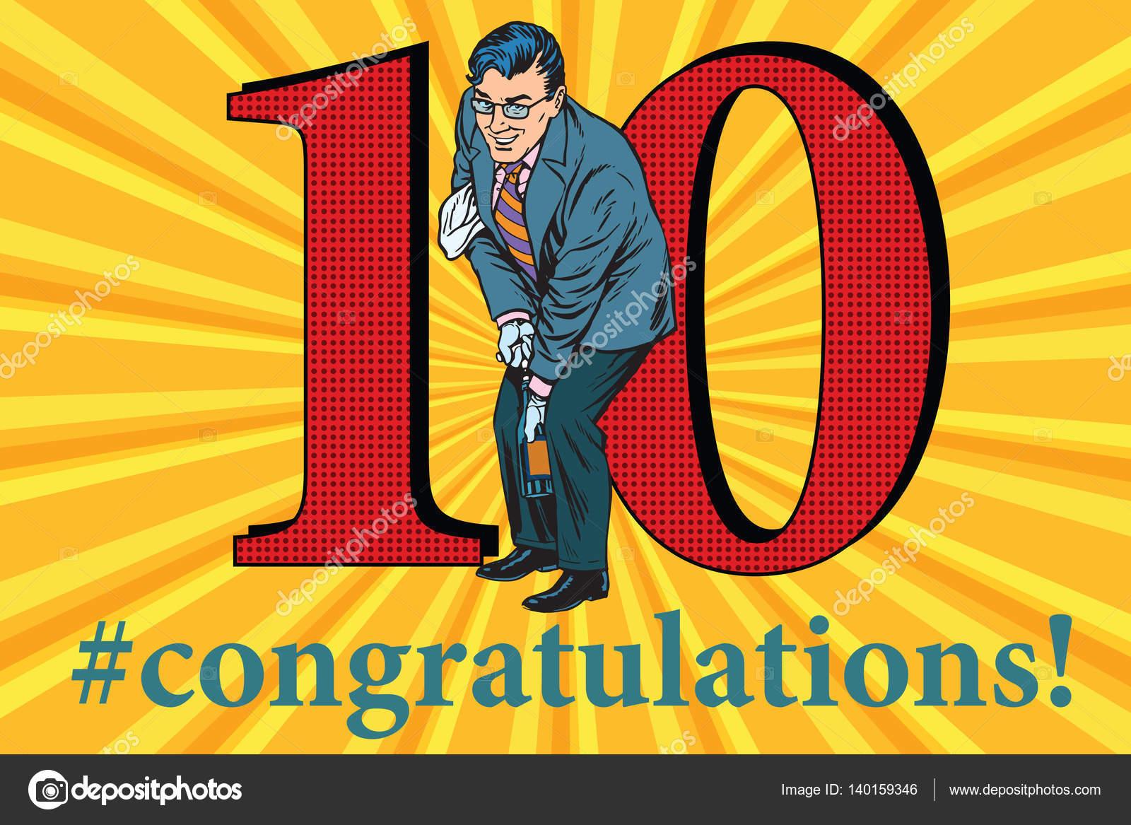 Gefeliciteerd 10 Gebeurtenis Jubileumfeest Stockvector