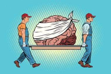Bandaged bear on the brain repair