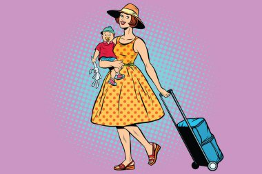 Mom traveler with a child. Pop art retro vector illustration. Woman with Luggage stock vector