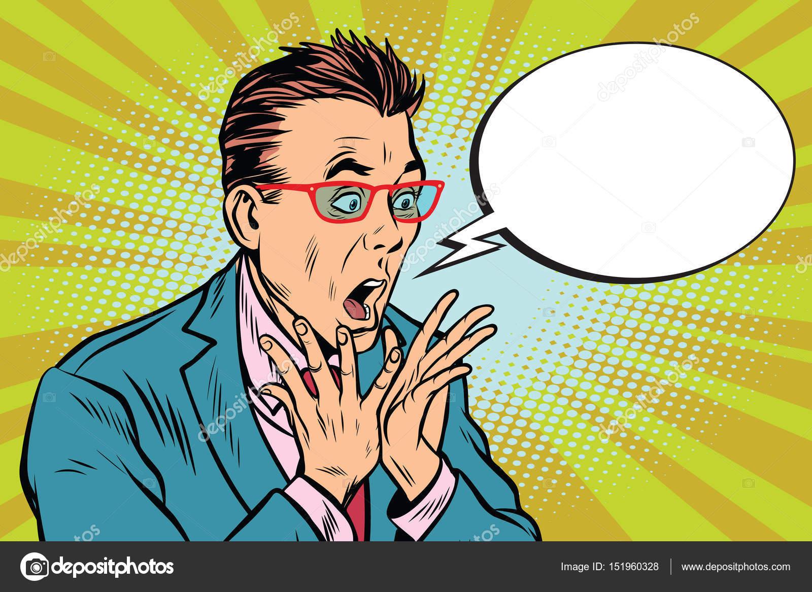 geschäftsmann mit brille angst schock reaktion Überraschung