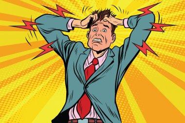 businessman panic head hand, illness and medicine