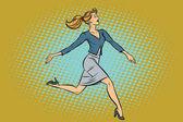 Beautiful businesswoman elegantly runs