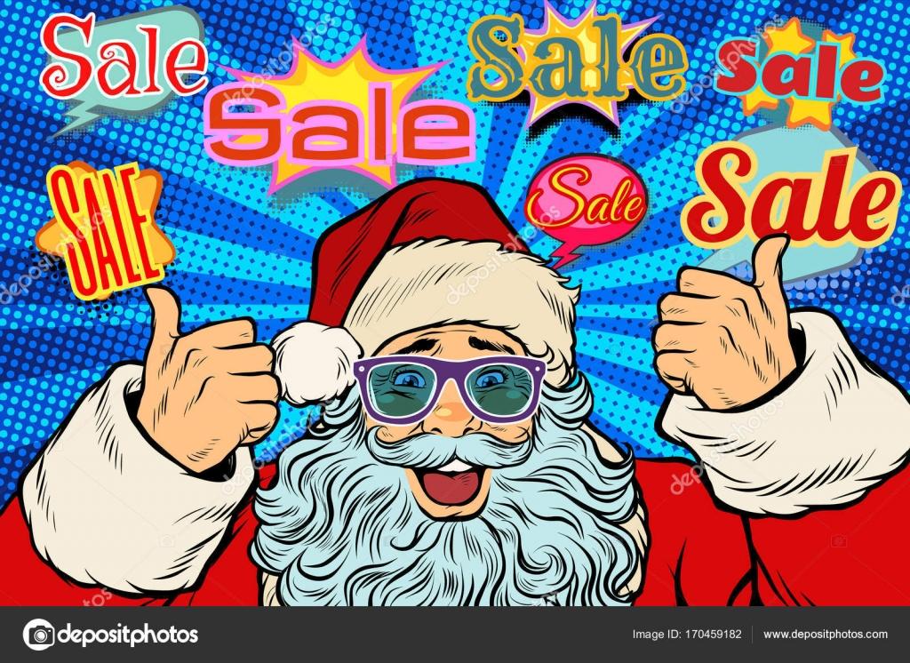 Försäljning bakgrund med jultomten i roliga glasögon. Pop art retro  vektorillustration — Vektor av studiostoks 22e20041b8eb2