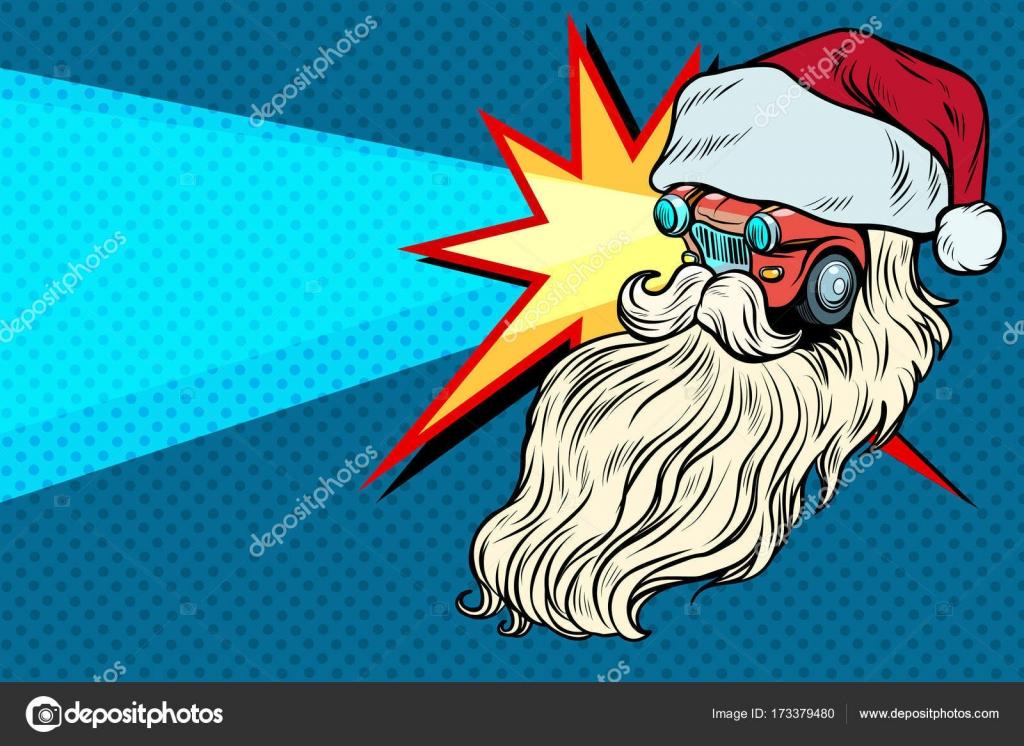 Scheinwerfer Auto Santa Claus Weihnachten Zeichen — Stockvektor ...