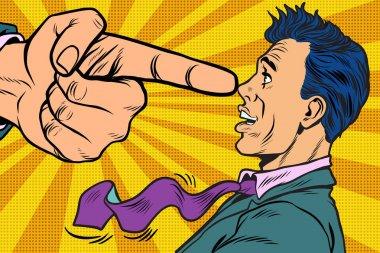 Boss threatens finger to businessman