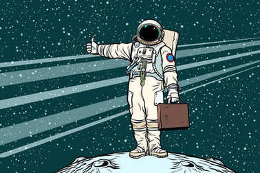hitchhiker astronaut with travel suitcase