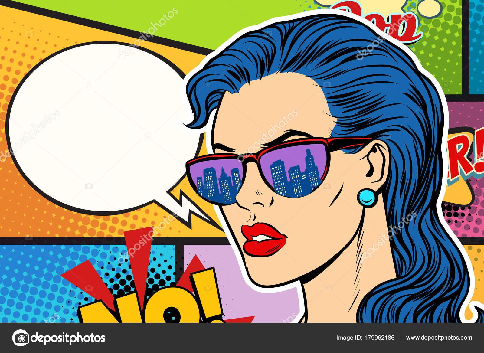 4b20b1ecb Pop art mulher bonita em óculos de sol. Diálogo em quadrinhos. ilustração  vetorial retrô — Vetor de ...