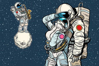 cosmonauts are dancing. romantic date, man loves a woman