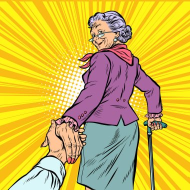 follow me Mature woman Granny leads hand
