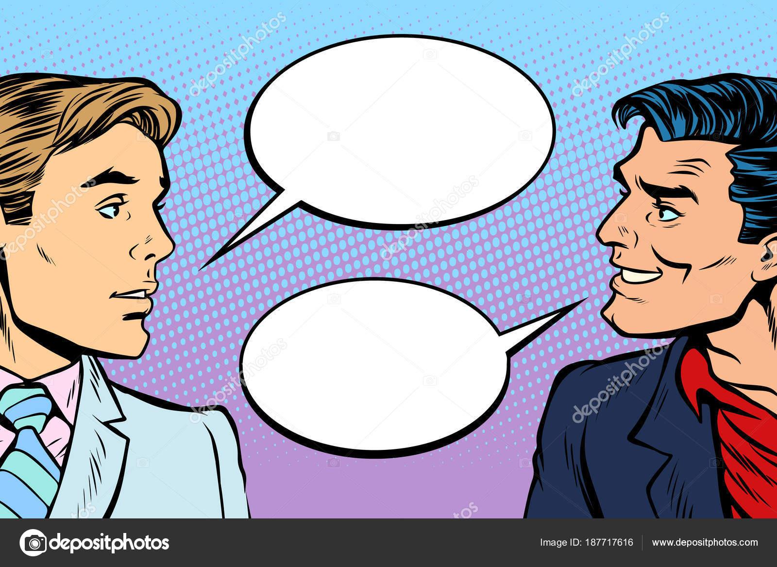 Animado Dialogo Entre Dos Personas Dibujo Diálogo De Dos Hombres