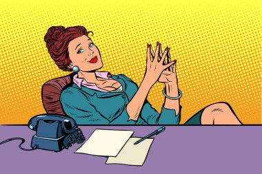 businesswoman boss sitting at the office Desk
