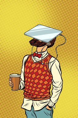 Hipster drinks coffee and watches tablet virtual reality