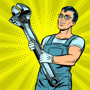Man repairman with a wrench