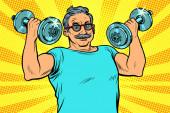 Älterer Mann hebt Hanteln, Fitnesssport