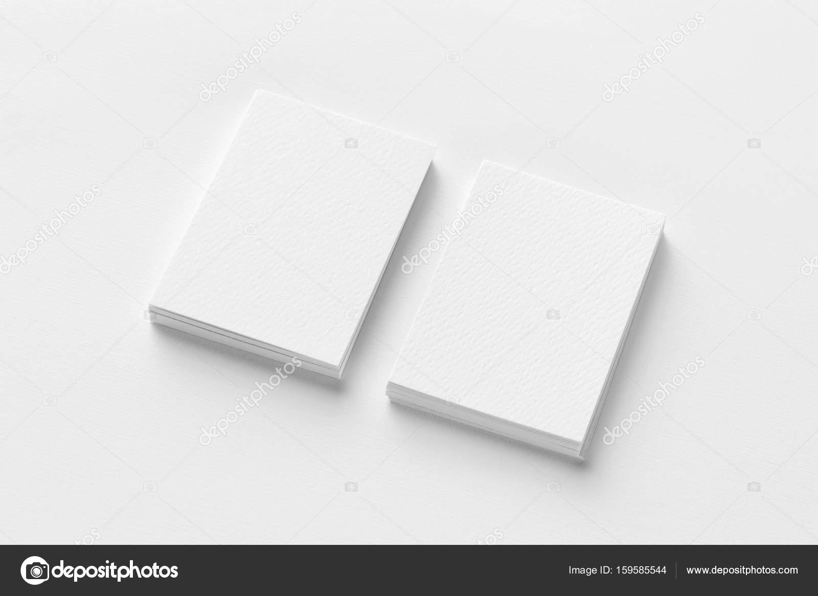 Maquette De Deux Cartes Visite Verticales Ba Papier Textur Blanc Photo