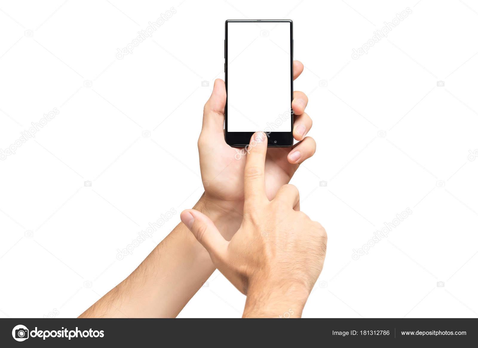 Maqueta de mano masculina sosteniendo teléfono móvil sin marco y ...