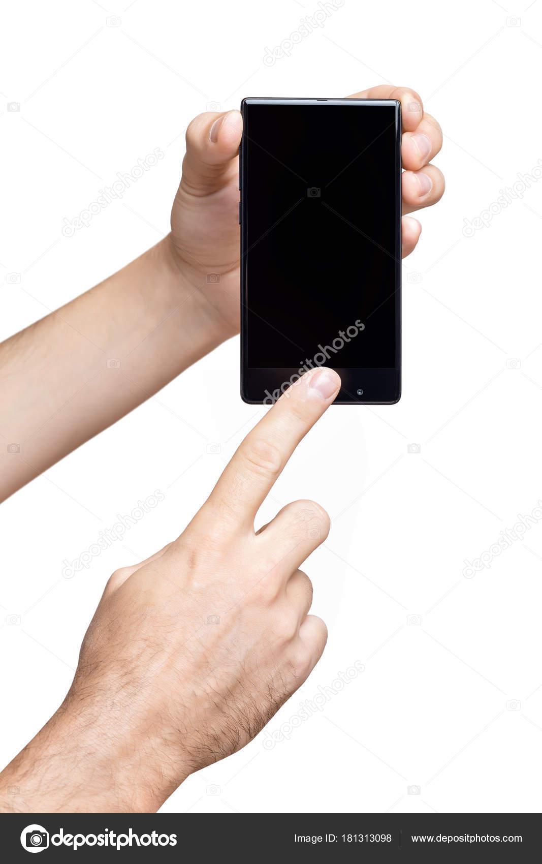 Mockup Verticale Della Mano Maschio Che Tiene Il Telefono Cellulare