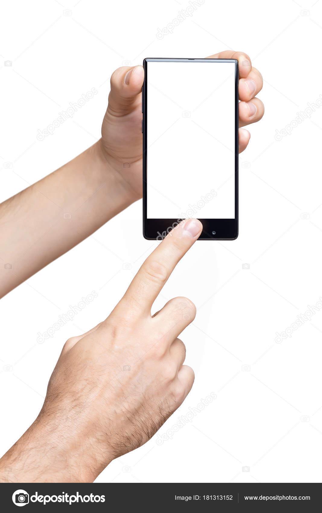 Maqueta vertical de mano masculina sosteniendo sin marco celular y ...