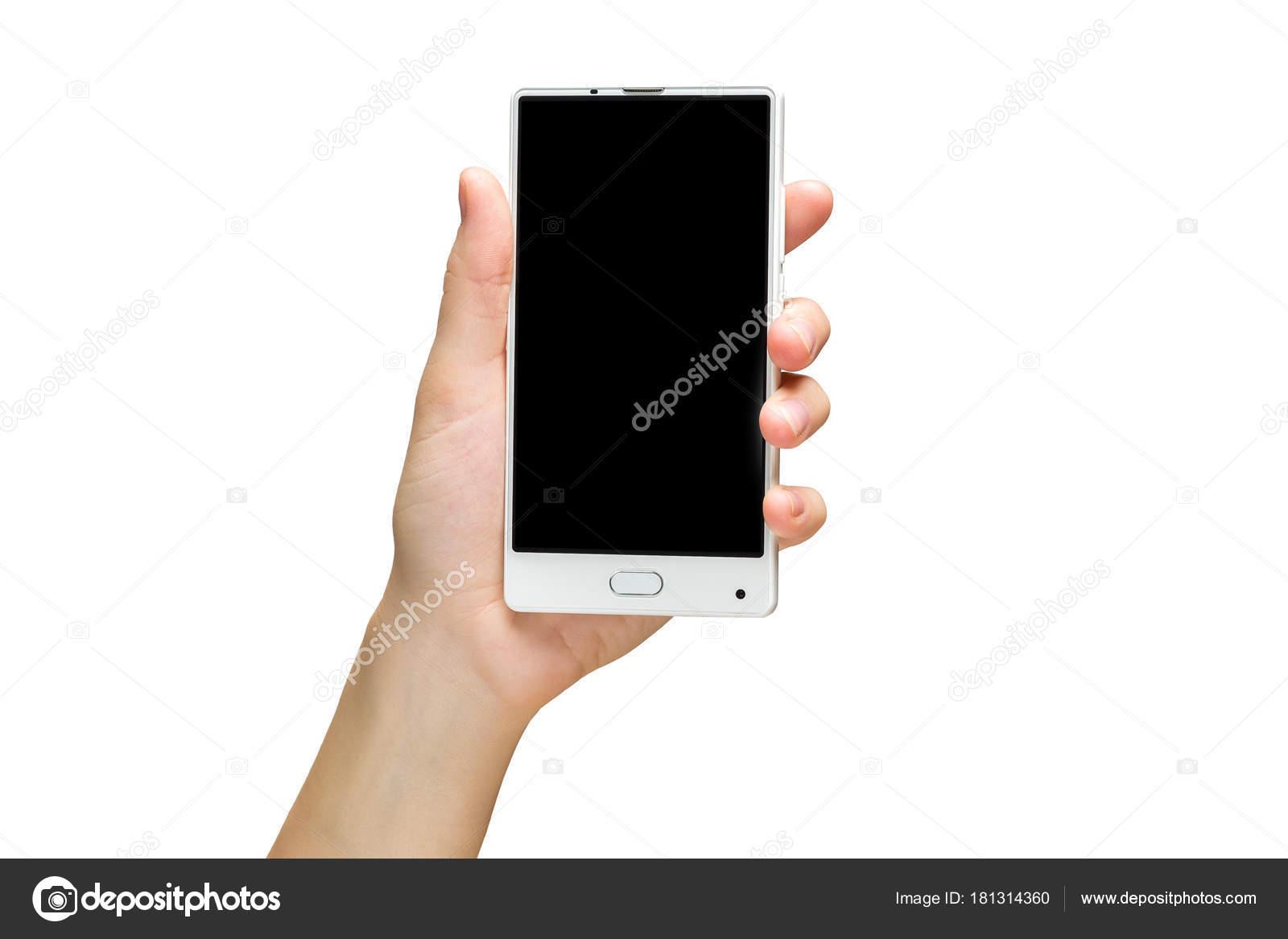 Maqueta de mano femenina sostiene blanco sin marco celular con ...