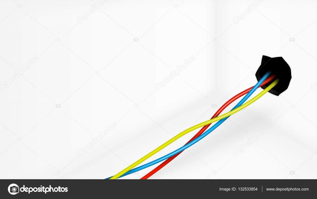 Leeren Raum mit farbigen elektrischen Leitungen aus der Wand ...