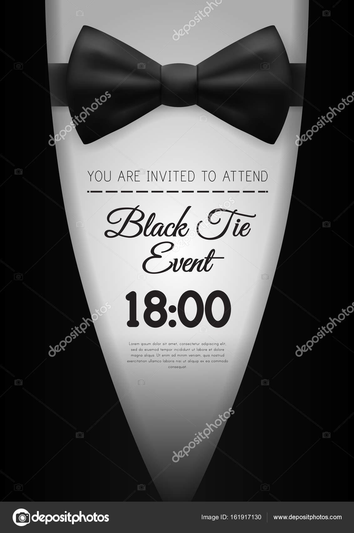 a4 elegant black tie event invitation template stock vector