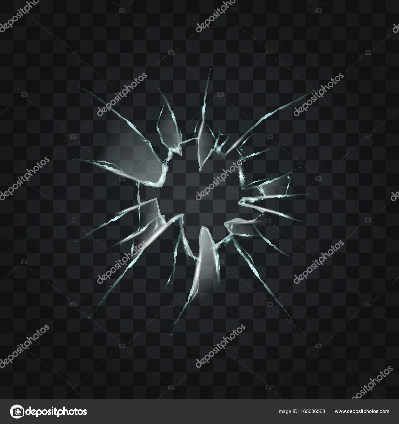 Genoeg Gebroken raam gat transparant glas — Stockvector © prahprah #165036568 IZ09