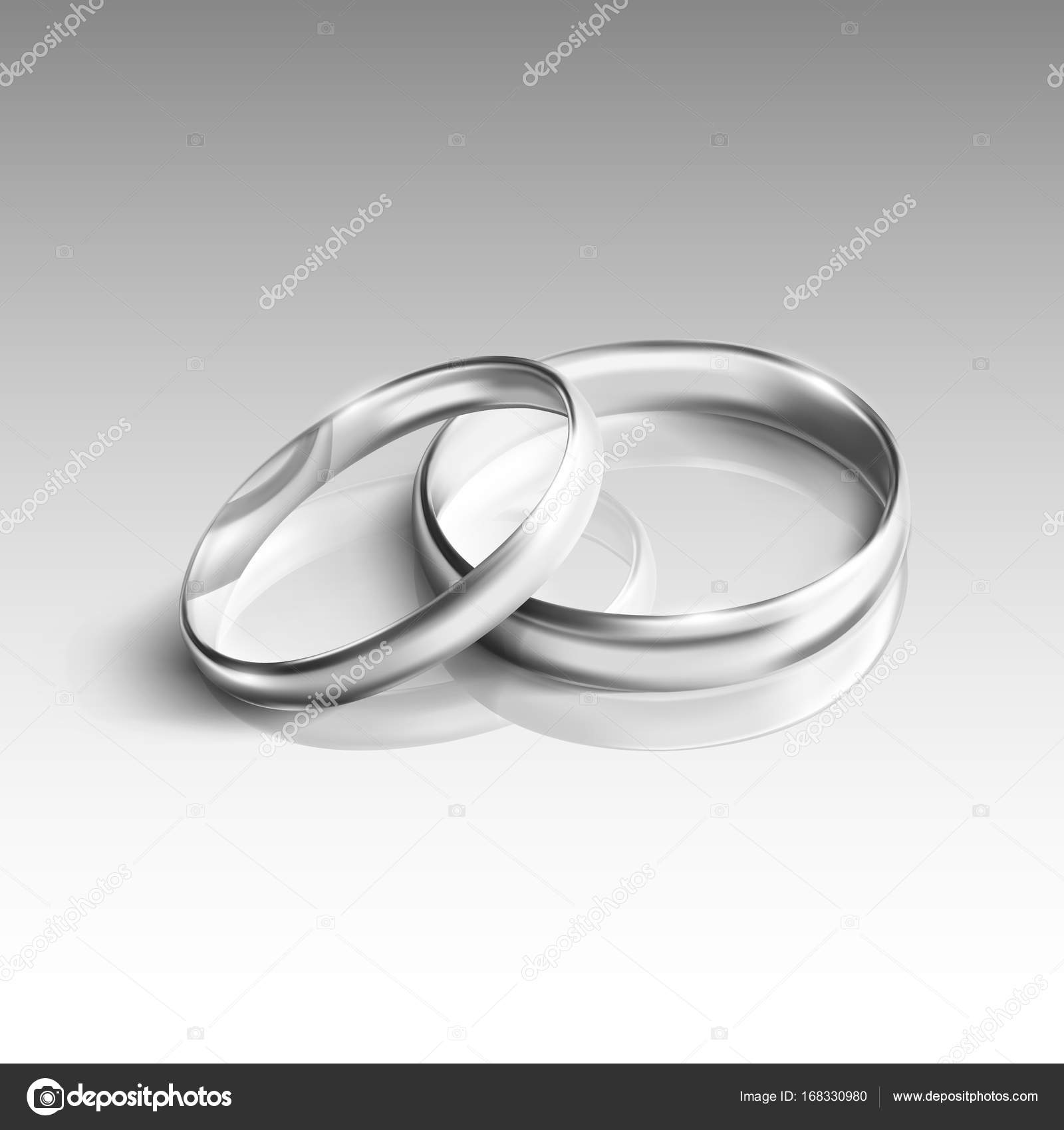 Silberne Hochzeitsringe Auf Weissem Hintergrund Stockvektor