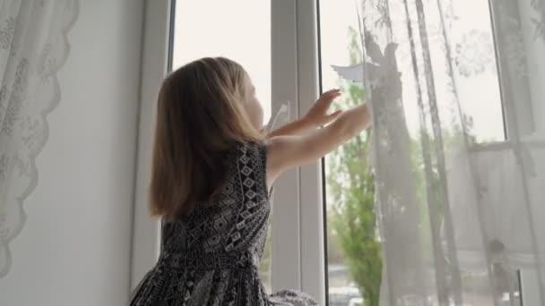 kluk, co dává na okno holubice symbolizující mír