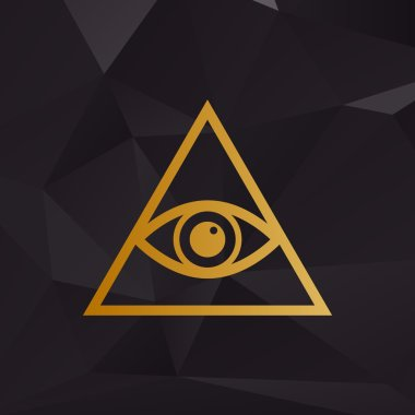 All seeing eye pyramid symbol. Freemason and spiritual. Golden style on background with polygons.