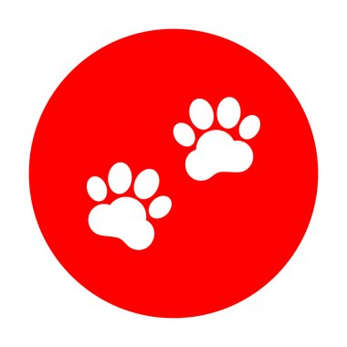 Animal Tracks sign. White icon on red circle.