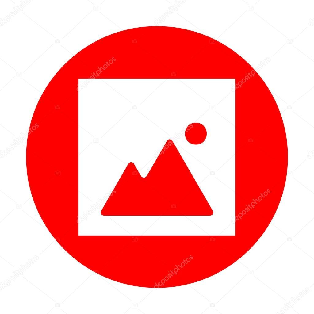 Image sign illustration. White icon on red circle.