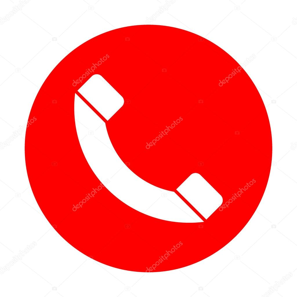 Phone sign illustration. White icon on red circle. — Stock Vector © Asmati1702@gmail.com #125690738