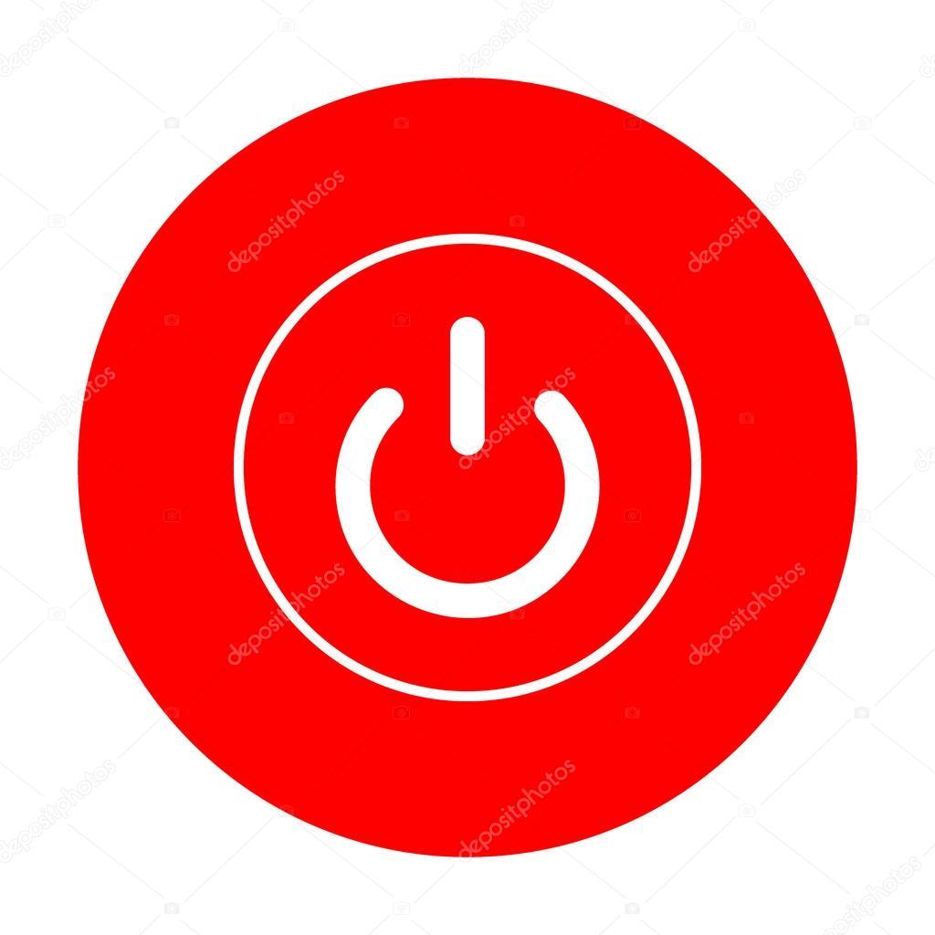 On Off Schalter Zeichen. Weißes Symbol auf rotem Kreis — Stockvektor ...