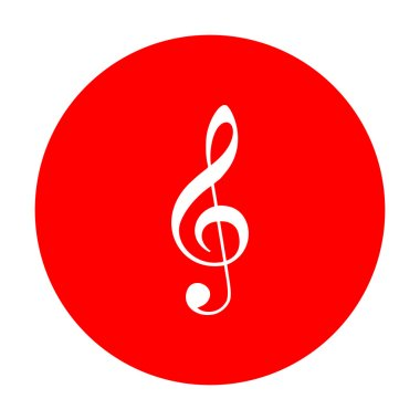 Music violin clef sign. G-clef. Treble clef. White icon on red circle.