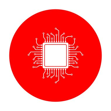 CPU Microprocessor illustration. White icon on red circle.