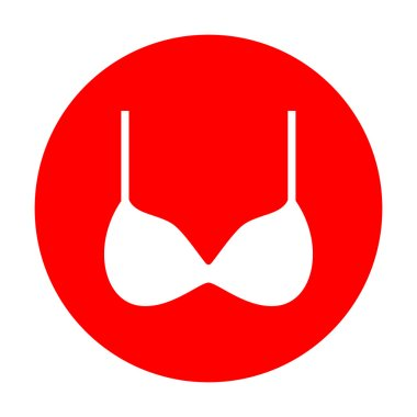Bra simple sign. White icon on red circle.