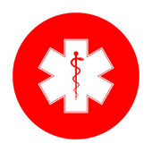 Fotografie Medizinische Symbol für den Notfall oder Star of Life. Weißes Symbol auf rotem Kreis