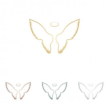 Wings sign illustration. Metal icons on white backgound.