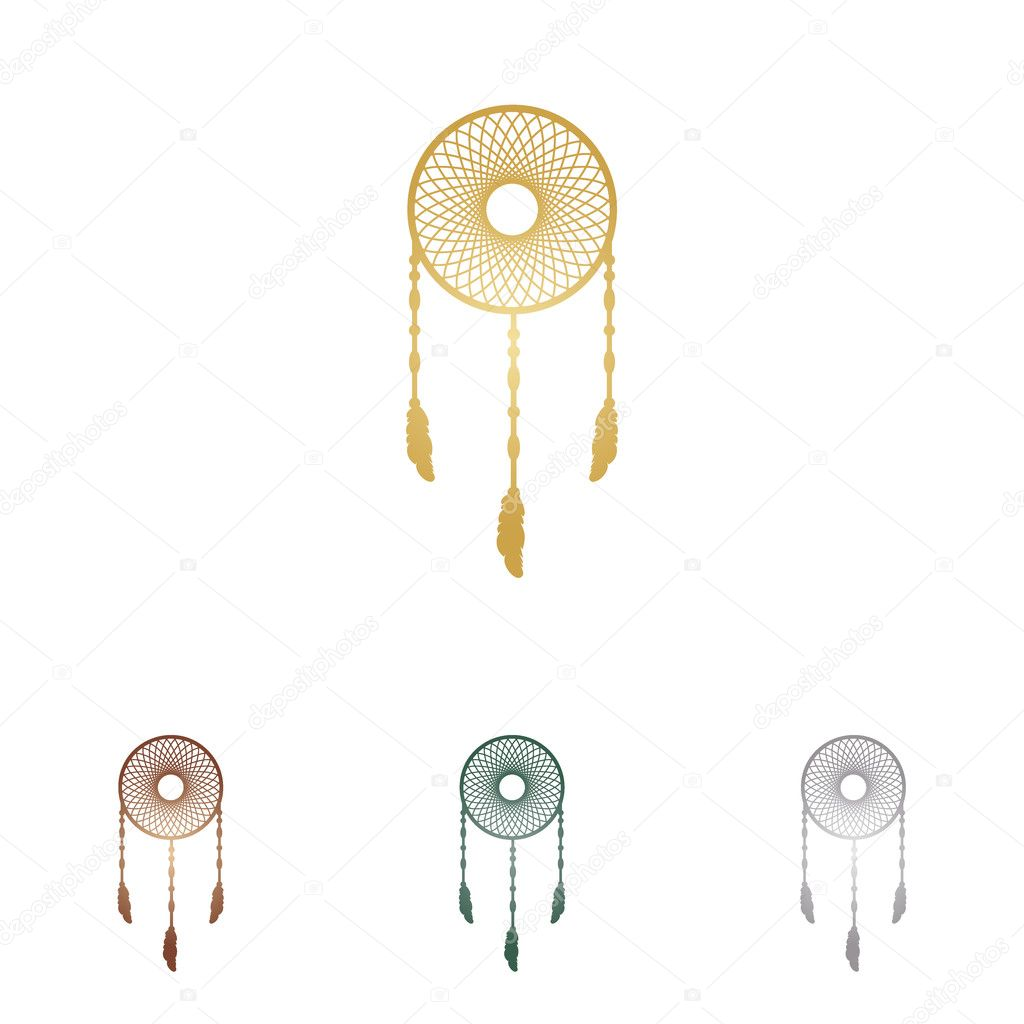 Dream catcher sign. Metal icons on white backgound.