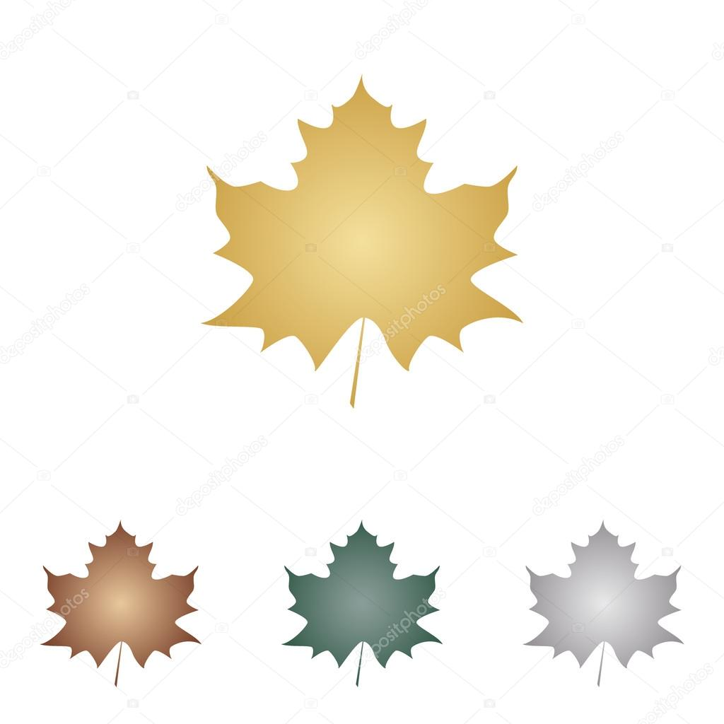 Maple leaf sign. Metal icons on white backgound.