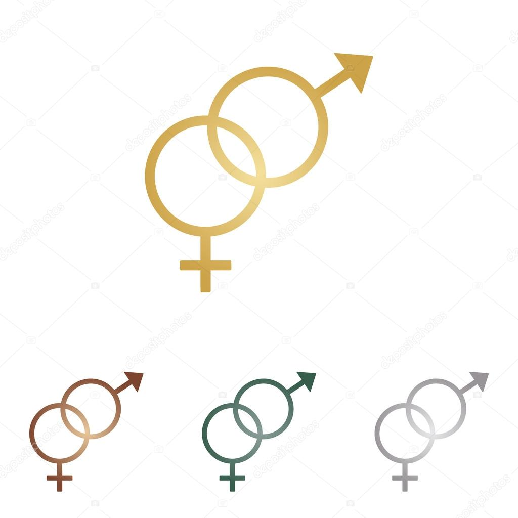 Sex symbol sign. Metal icons on white backgound.