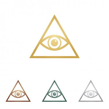 All seeing eye pyramid symbol. Freemason and spiritual. Metal icons on white backgound.