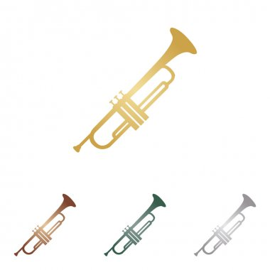 Musical instrument Trumpet sign. Metal icons on white backgound.