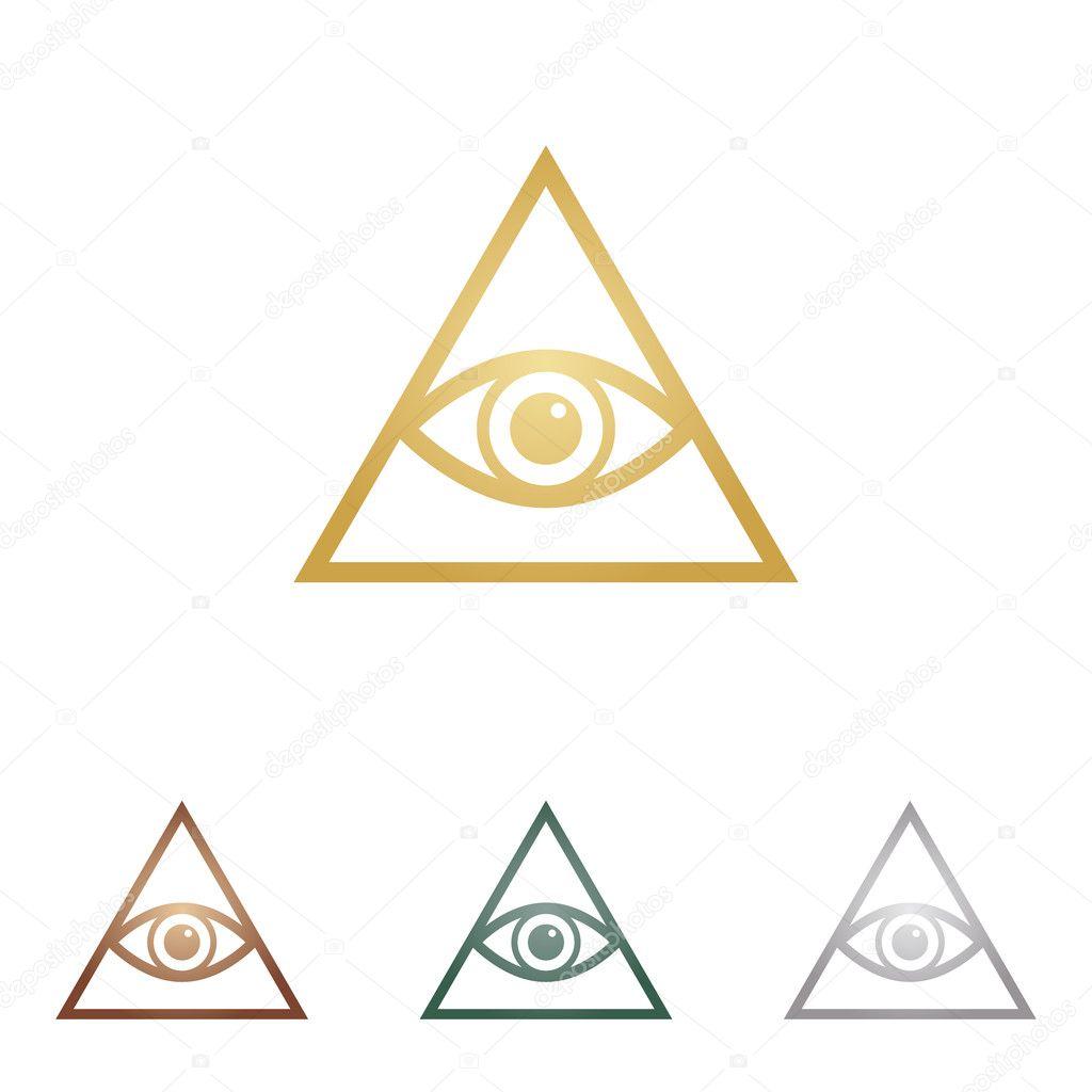 All seeing eye pyramid symbol. Freemason and spiritual. Metal icons on white backgound.
