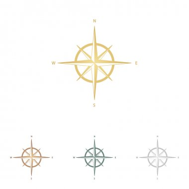 Wind rose sign. Metal icons on white backgound.