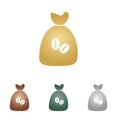 Coffee bag Icon. Coffee bag Vector. Coffee bag Icon Button. Metal icons on white backgound.
